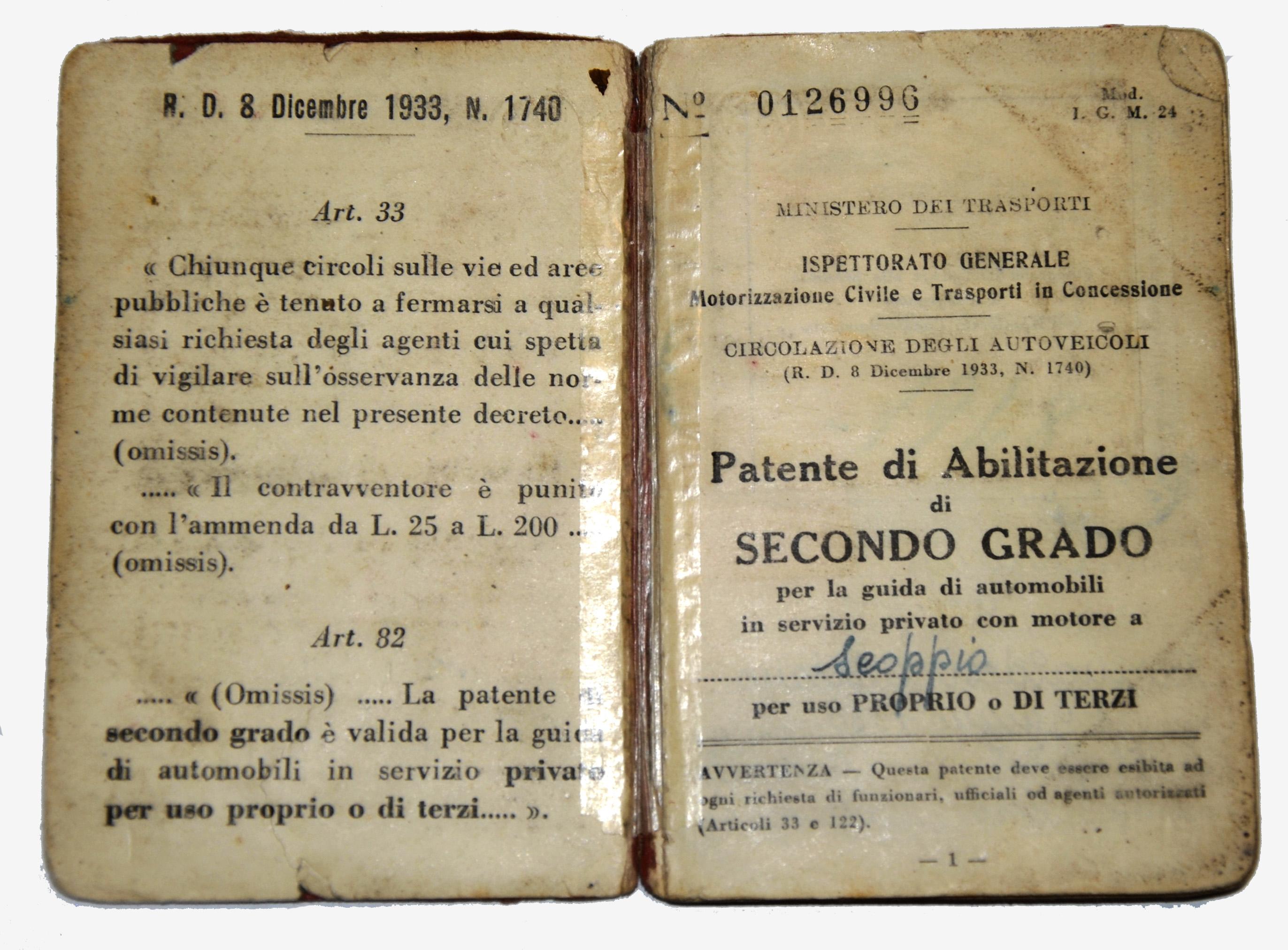 La patente del Cav. Corinaldesi, anno 1951